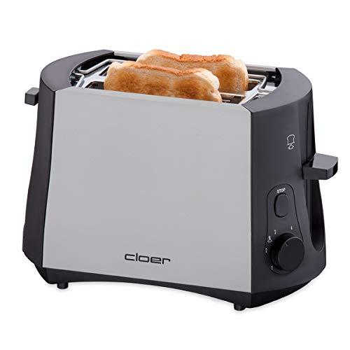 Cloer 3410 Toaster / 825 W / für 2 Toastscheiben / integrierter Brötchenaufsatz / Nachhebevorrichtung / Krümelschublade / mattiertes wärmeisoliertes Metallgehäuse