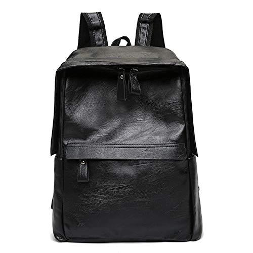 DCRYWRX School College Bookbag Vintage PU Ledertasche Reisetasche Business Casual Rucksack Reisetasche Kann 14 Zoll Laptop Halten,Black