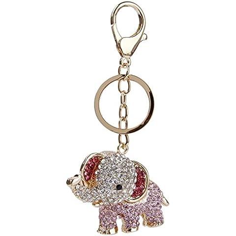 onewiller elefante Crystal Rhinestone charms colgante llavero