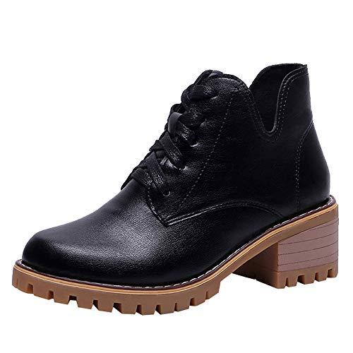 UFACE Damen Platz Ferse Schuhe Martain Boot Leder Warm Warm Runde Toe Lace-Up Schuhe