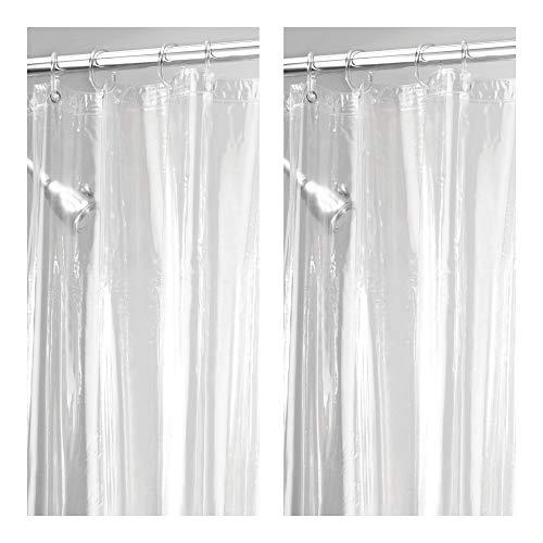 duschvorhang vinyl mDesign 2er-Set Duschvorhang Anti-Schimmel (extra lang) - Dusch- & Badewannenvorhang - Duschvorhang wasserabweisend aus Vinyl - mit 12 Metallösen verstärkt - 182,9 cm x 243,8 cm - transparent