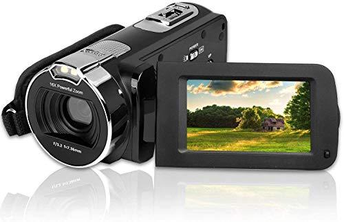 CamKing Videokamera DigitalCamcorder, 3,0 Zoll Bildschirm FHD 1080P 24MP Digitalkamera mit 270 Grad Drehbildschirm,Kamera mit 16x Fachem Digitalzoom(Schwarz)