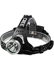 Sannysis 10000 Lúmenes CREE XM-L T6 LED Lámpara de cabeza y 2pcs 18650 baterías y Cargadora y 2pcs 18650 baterías y Cargador