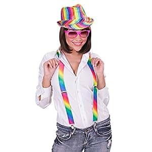 Chapeau Arc-En-Ciel Chapeau À Paillettes Multicolore Rainbow Trilby Couleurs de L'Arc-En-Ciel Chapeau de Fête Soirée Borsalino Chapeau de Carnaval