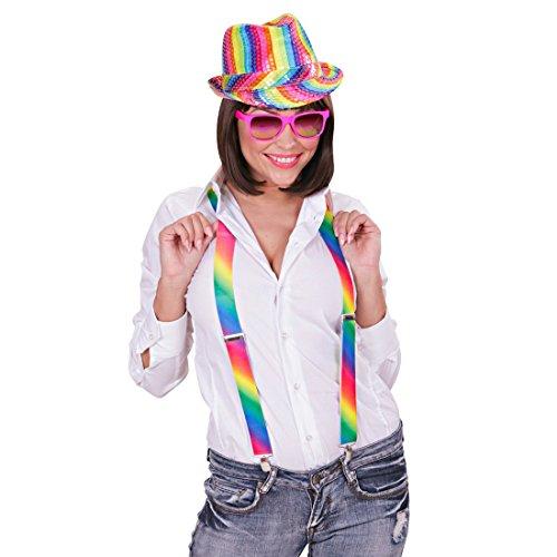 Regenbogen Hut Bunter Pailettenhut Rainbow Trilby Regenbogenfarben Partyhut Party Fedora (Hüte Regenbogen)