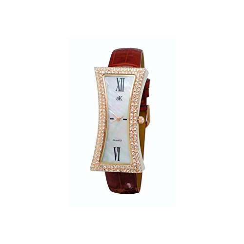 ADEE Kaye Women's Curvy Brown Leather Band Brass CASE Quartz Watch AK9715-LRG