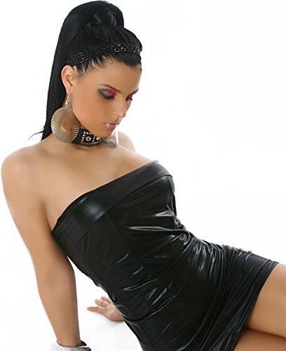 Jela London Damen Glossy Wetlook GoGo Bandeau Minikleid metallic Schlauch-Kleid Club (34/36/38) Schwarz