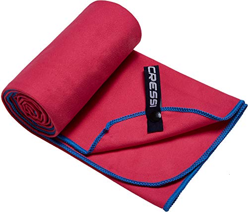 Cressi Microfibre Fast Drying Playa Toalla Sport, Adultos Unisex, Rojo/Azul Claro, 60x120