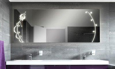 Badspiegel mit Beleuchtung Fleurir F131N2V: Design Spiegel für ...