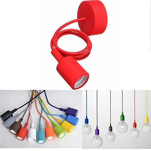 KINGSO - Lampada sospesa, E27, colorata, in silicone, attacco Edison, lampadario a sospensione per cucine, sale da pranzo, soggiorni, camere, bar e ristoranti