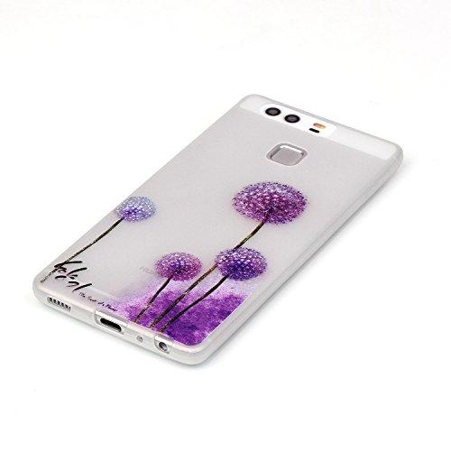 Voguecase® Pour Iphone SE, Noctilucent TPU Silicone Shell Housse Coque Étui Case Cover (la tête de loup/plume)+ Gratuit stylet l'écran aléatoire universelle pissenlit violet