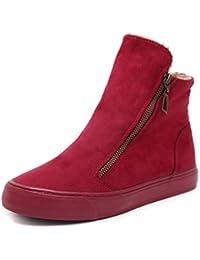 Combate de Mujeres Botas Tobillo de Invierno de Calzado Zapatillas de Felpa Casual Zapatos Planos Ronda
