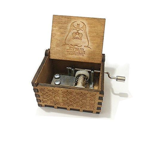 Reine Hand-klassischen Premier Spieluhr,Funmo Star Wars MusikBox Gravur aus Holz Dekorative Box Reine Hand-hölzerne Spieluhr kreative Holz Handwerk -