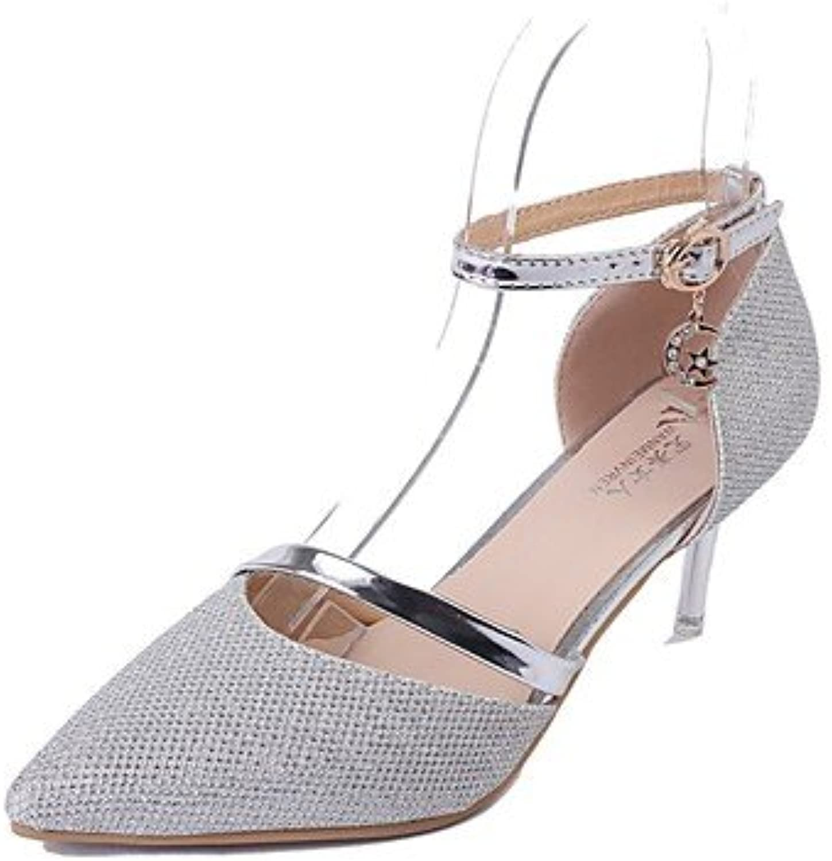 RTRY Zapatillas De Mujer &Amp; Flip-Flops Verano Confort Casual Pu Chunky Heelblack Caminar Blanco Plata Us5 /...