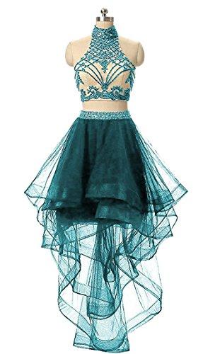Ysmo Frauen 2 Stück Perlen Schlüsselloch Zurück High Low Heimkehr Cocktailkleider Halter Short Beading Prom (Gatsby Kleid Billig)