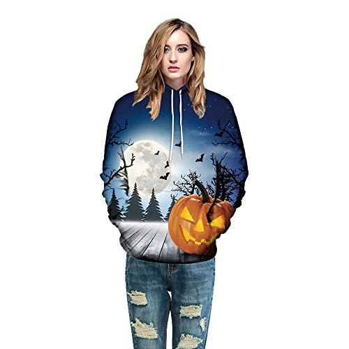Elecenty Kürbis Gedruckt Hoodies,Halloween Kapuzenpullis Frauen Reizvolle Lose Pullover Mit Kapuze...
