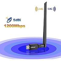 Wlan Adapter, Wlan Stick USB Wifi Adapter 1200Mbit/s AC Dualband ,Wlan Empfänger mit 5dBi Wlan Antenna Wrieless adapter3.0 für Windows10/8.1/8/7/VISTA/Mac/PC/Desktop
