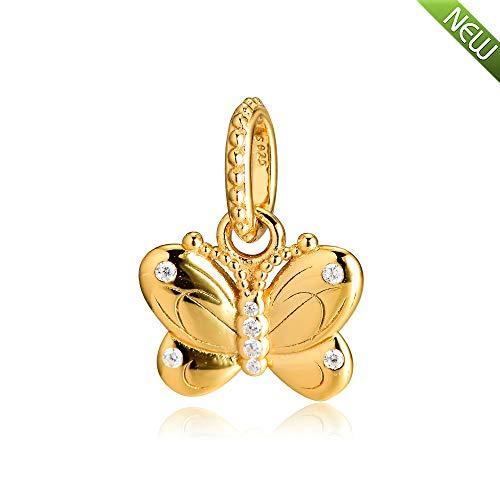 PANDOCCI 2019 frühling Glanz dekorative Schmetterling Halskette anhänger Perle 925 Silber DIY Passt für Original Pandora Armbänder Charme Modeschmuck