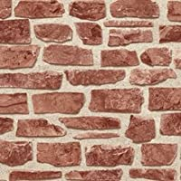 Brick Work Effect Red Textured Feature Wallpaper 20899 by Holden Decor