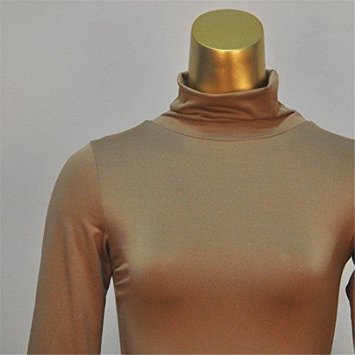 QIYUN.Z Coton Cou Long Stand Manches Mi-Mollet Gaine Sexy Robe Bandage Moulante Brun