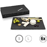 Amazy Platos de Pizarra Negra (6 Piezas.) con Tiza para Escribir - Pizarra Plato Aperitivo Que Ofrece un diseño Servir Comida (30 x 20 cm)