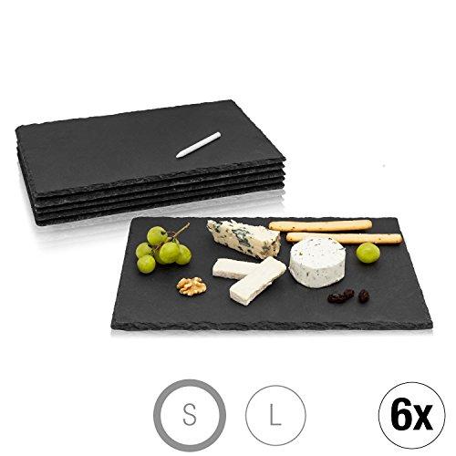 Amazy Assiettes en ardoise (Set de 6) + craie de marquage – Sets de table en ardoise naturelle avec pieds antidérapants pour vos repas (30 x 20 cm)