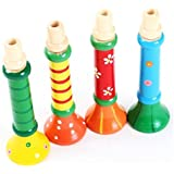 Toraway 1PC bebé colorido de madera Cuerno Hooter trompeta de música instrumental Juguetes estimular el interés