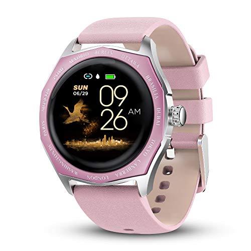 Montre Femmes Homme Sport Bracelet Connecté Étanche Bluetooth Montre Intelligente Cardiofréquencemètre Podomètre Calorie Fitness Tracker d'Activité pour Android iOS (Rose)