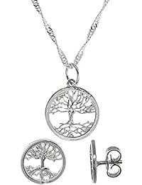 Córdoba Jewels | Conjunto de gargantilla y pendientes en Conjunto de Plata de Ley 925 con diseño Árbol de la Vida de 15mm. Largo 40 cm