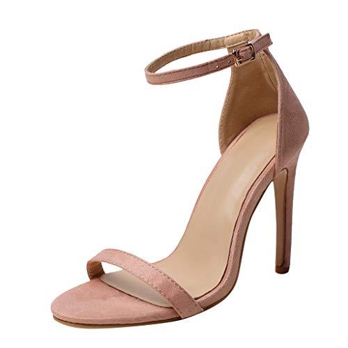 Deloito 2019 Sommer Sexy Damen High Heels Sandaletten Peep-Toe Schuhe Hochzeit Flacher Mund Party Prom Schuhe Abend Stilett Sandalen (Rosa,36 EU) High Heel Gummi