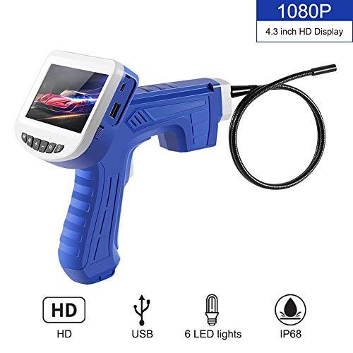 Endoskop Inspektionskamera IP68 wasserdicht mit 6 LED Licht und 4,3 Zoll 1080P Full HD LCD Bildschirm, Halbsteifer Handvideorecope Schlangen Kamera, Handheld Industrielles borescope androic,1M