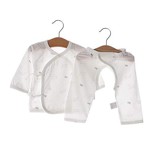 2 Stücke Baby Langarmshirts + Offene Hosen Kleinkind Baumwolle Outfit Infant Cartoon Gemusterte Kleidung Set(59-Grau)