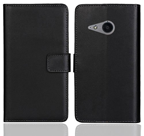 HTC One Mini 2 Handy Tasche, FoneExpert® Wallet Case Flip Cover Hüllen Etui Ledertasche Lederhülle Premium Schutzhülle für HTC One Mini 2 (Schwarz Farbe) (Wallet Mini Farbe)