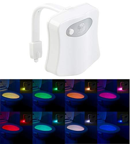 Lunartec WC Licht: LED-Toilettenlicht mit Licht- und Bewegungssensor, 2 Modi, 16 Farben (Toilettenlicht mit Bewegungsmelder)