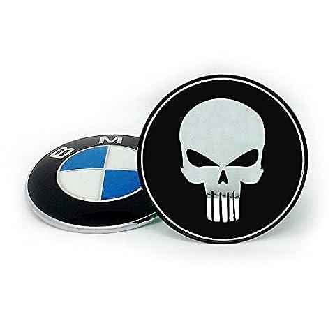 BMW TUNING EMBLEM 82mm Abdeckung by Emblemdeluxe® Zubehör zum kleben- Motiv Totenkopf schwarz/chrom Aluminium für Motorhaube und Kofferraum/Heckklappe-E30, E32, E34, E36, E39, E46, E60, E87, E90, E91, X3, X5 1er, 2er, 3er, 4er, 5er kein Aufkleber kein