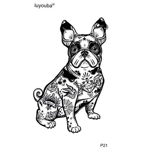 BRT Tribal Totem Hund Wasserdicht Temporäre Tattoo Aufkleber Schönheit Tiere Tatoo Festival Wasserdicht Tattoo 3d Aufkleber Tatoo Männer(2 Pack) AAN-001
