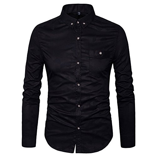 AIYINO Herren Hemd für Business Freizeit Hochzeit Baumwolle 6 Farben zur Auswahl XS-XL(S Schwarz)