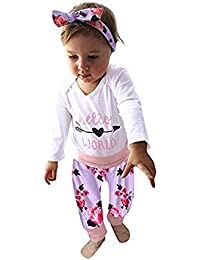 JYC Conjuntos Bebes,Ropa para Chicas,Infantil Bebé Chicas Largo Manga Carta ImpresiónMameluco+Floral Impresión Pantalones Trajes