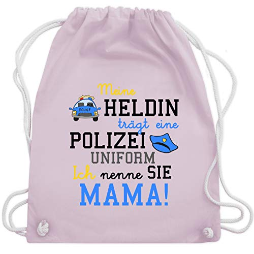 Sprüche Kind - Meine Heldin trägt eine Polizei Uniform Mama - Unisize - Pastell Rosa - WM110 - Turnbeutel & Gym ()