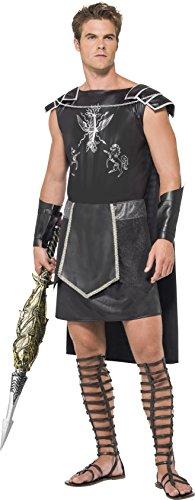 Herren Kostüm Gladiator - Fever, Herren Dark Gladiator Kostüm,Tunika mit Umhang und Armmanschetten, Größe: L, 55028