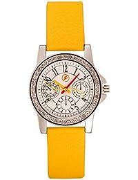 Fastrend Quartz Ladies Watch - Genuine Leather Analog Watch For Women - Round And Yellow Wrist Watch