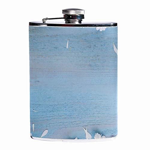 Leak Proof Liquor Hip Flask 7.6 oz Flagon Mug Leather Cover with Daisies On Wooden Shabby print Pocket Container for Discrete Shot Drinking of Whiskey Alcohol Liquor -