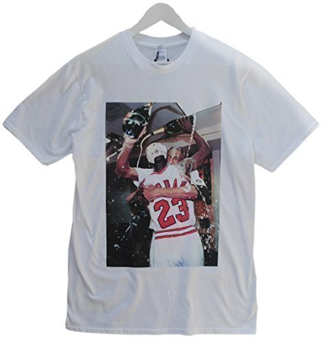 Actual Fact Michael Jordan Celebration Basketball Weiß Rundhals T-shirt - Weiß - Weiß, Weiß, Small (Jordan 5 Shirt)