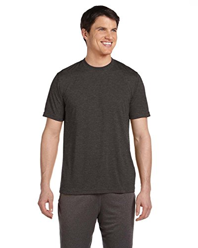 M1009 ALO M1009 MEN POLY SPORT TEE DK GREY HEATHER XS (Dk Heather)