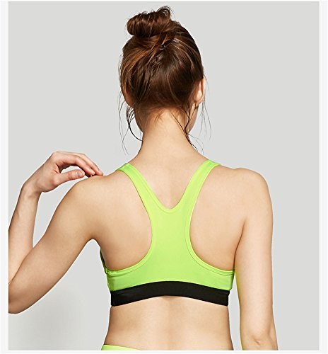 YeeHoo Women's Shockproof Removable Cups Full-Support Fitness sports Bra Verde