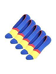 Large , Blue : Generic Men 5 Pack Color Block Stripes Pattern Boat Socks 13-15