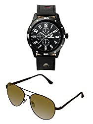 Orlando Casual Chronograph Look Analogue Black Dial Black Leather Belt Mens Watch & BIG Tree Umber Brown Color - Gradient UV Protected Aviator Sunglasses Goggles Combo Set