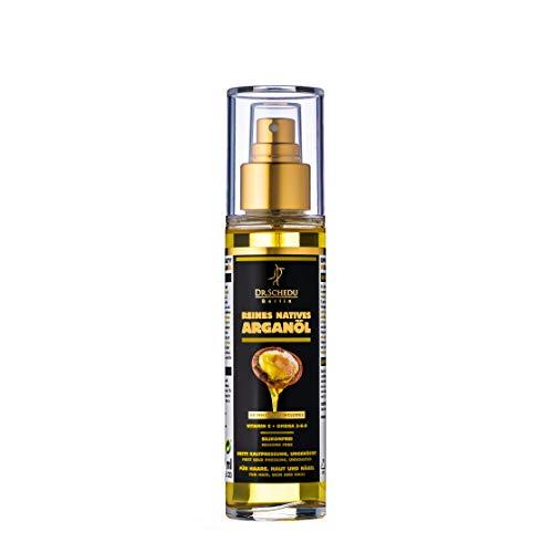 Dr. Schedu Berlin 100% reines natives marokkanisches Arganöl, ungeröstet, erste Kaltpressung & ohne jede chemische Behandlung, für Haare, Gesicht, Haut und Nägel,100ml -