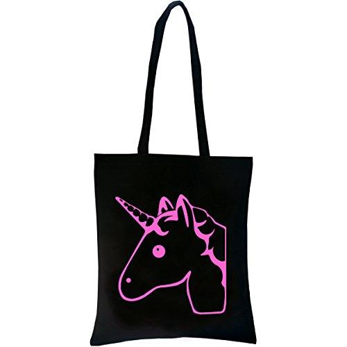 PREMYO-Tote-bag-en-coton-noir-imprim-avec-licorne-rose-trs-mignonne-Sac-shopping-impression-licorne-Sac-de-courses-rutilisable-en-tissu-et-anses-longues-Sac-fourre-tout-femme-Sac-cabas-en-toile
