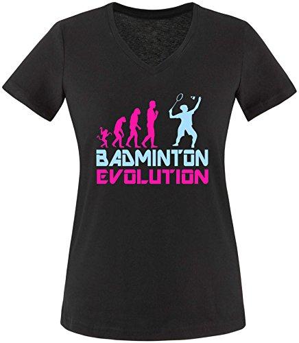 EZYshirt® Badminton Evolution Damen V-Neck T-Shirt Schwarz/Pink/Hellbl